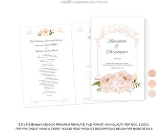 peach wedding programs instant download| DIY wedding program templates| order of ceremony| You edit the text| T124