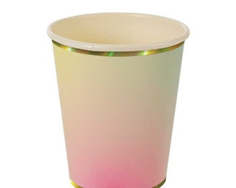 Ombre Paper Cups (8), Meri Meri Pastel Cups, Hot or Cold Party Cups with Gold Foil Edge