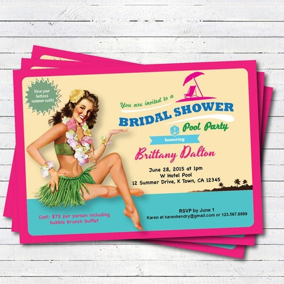 Luau bridal shower invitation summer hawaii theme bridal like this item filmwisefo Choice Image