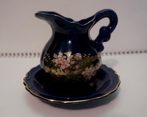 Cobalt Blue; Small Pitcher and Bowl; Oriental Design; By Giftcraft; Made in Japan; Gold Trim; Approx. 4 x 4.5 Inches