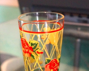 Sweet Little Vintage Juice Glass; Rose Pattern; Only 3 2/8 Inches Tall; Just Under 2 Inches Across