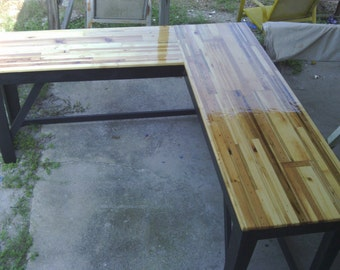 """Reclaimed lumber """"L"""" shaped desk"""