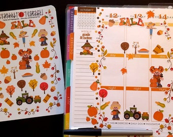 Fall, Fits Erin Condren® and others, Planner Stickers, Kiss Cut, Calendar Stickers, Life Planner™ Stickers, Scrapbooking, Harvest, Pumpkin