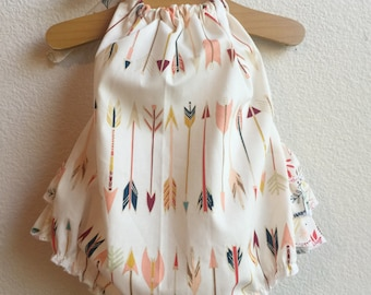 Little Arrows Ruffled Baby Girl Romper. Baby Girl Romper. Baby Bubble Romper. Baby Sun Suit.