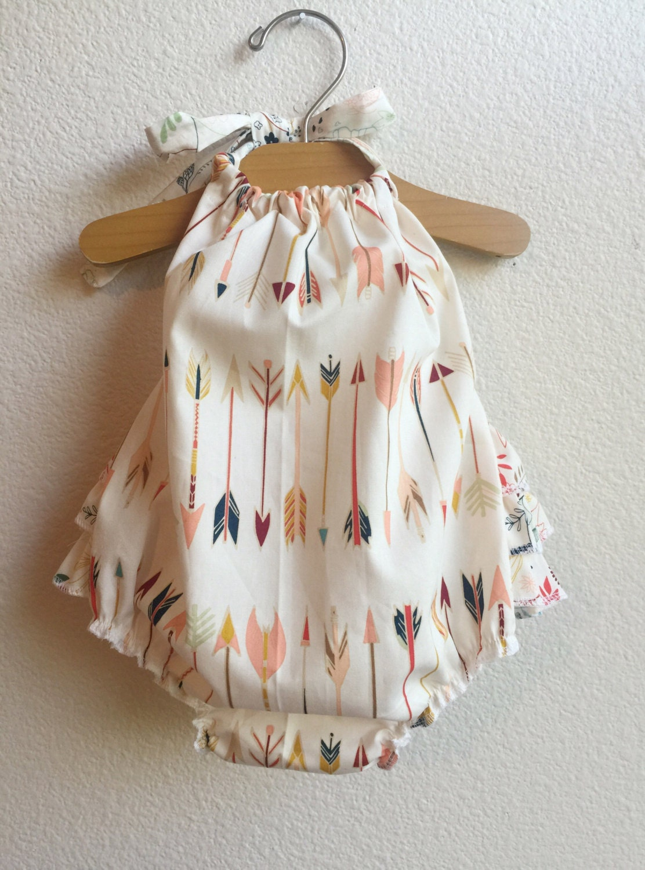 Little Arrows Ruffled Baby Girl Romper. Baby Girl Romper. Baby