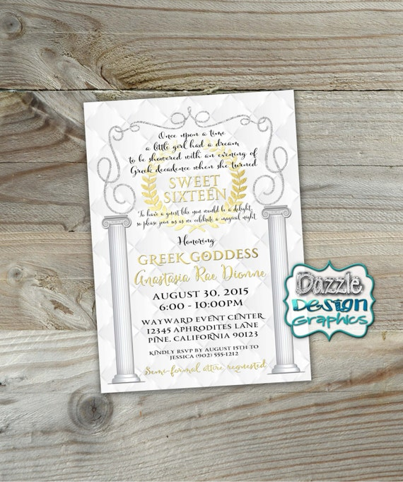 Greek Goddess Sweet 16 Birthday Invitation Sweet Sixteen