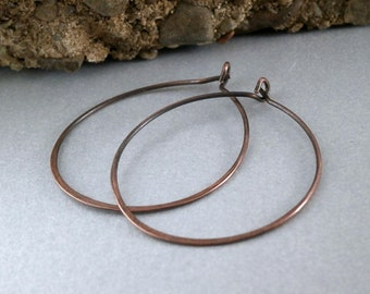 Simple Copper Hoop Earring Medium Sized Hoop Pure Titanium Hoops Medium Size Metalwork Copper Jewelry Made to Order Simple Hammered Jewelry