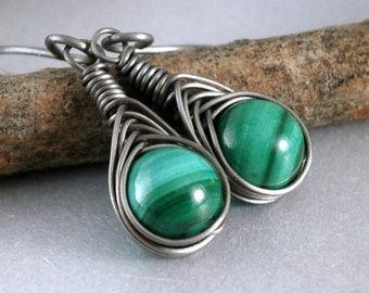 Grade 1 Pure Titanium Malachite Earrings Hypoallergenic Wire Wrapped Earrings Handmade Vintage Beads Copper Jewelry Titanium Earrings