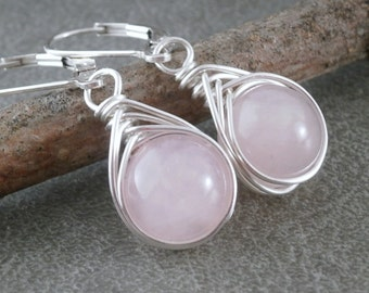 Rose Quartz Earrings Sterling Silver Leverback Earrings Wire Wrapped Earrings Handmade Pink Valentines Gift Handcrafted Jewelry Pink Dangles