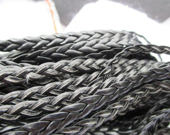 Black Braided Real Leather  5 MM
