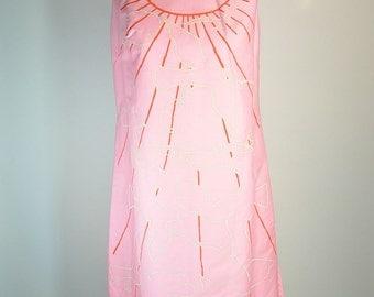 Mod 60s Dress// Hot Pink Shift Dress// Hand Printed Dress