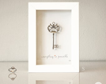 Best friend Gift - love Gift - new job Gift - graduation gift - Wedding - Anniversary - Picture key antique silver - Art frame
