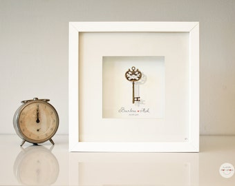 Personalized Wedding gift - Custom Love gift Idea bronze Anniversary Art Frame gift customized - key antique bronze - framed under glass