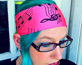 funky beats UV reactive glow neon pink music notes headband hair bow