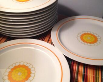 "12 Georges Briard ""Florette"" large dinner plates"