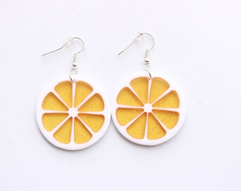 Orange Earrings, Fruit Earrings, Food Earrings, Citrus Earrings, Grapefruit Earrings, Kawaii Earrings, Kawaii Jewelry, Food Jewelry, Tumblr