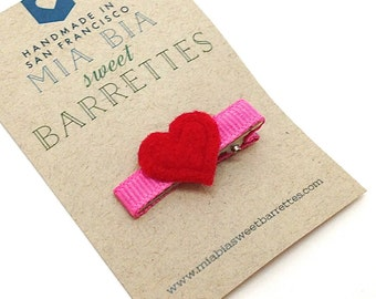Felt Heart Hair Clip Barrette