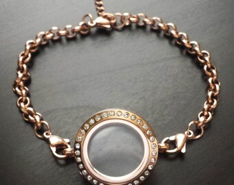 Medium Rose Gold Floating Locket Bracelet-Chain Included-Crystal Face-Gift Idea for Women