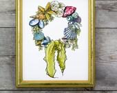 Seashell Wreath 8x10 Wate...