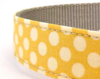 Yellow Polka Dot Dog Collar - Preppy Collar - Yellow Wedding Dog Collar - Dog Collar for Spring, Summer and Beyond