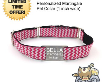 "Personalized Martingale Dog Collar 1"" - Martingale Collar Chevron Series FREE Engraved 304 Stainless Steel Collar Tag/ Adjustable - PINK"