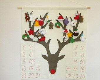 Reindeer Felt Advent Calendar,  Reindeer Holiday Countdown, 24 Christmas  Ornaments,  Rudolph the Red-Nosed, Christmas Decor