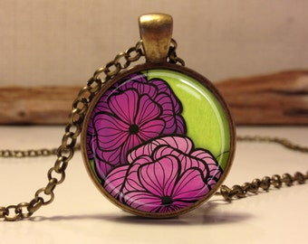 Pink Floral necklace.  Flowers art pendant jewelry (Floral #2)