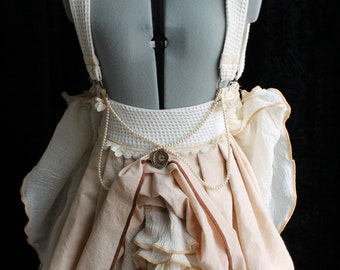 Steampunk Woodland Wings Mini Bustle Skirt with Back Trail xs, s, m, l, xl