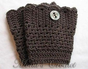 Hand Crocheted Women's Gray Boot Cuffs | Crochet Boot Topper | Crochet Leg Warmers | Crochet Boot Socks