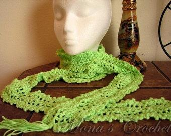 Hand Crocheted Pistachio Green Pineapple Motif Fashion Scarf