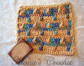 10% Off - Hand Crocheted Peruvian Cotton Tentacle Stitch Washcloth | Face Cloth | Spa Cloth | Crochet Washcloth | Crochet Spa Cloth
