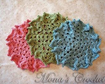 Hand Crocheted Acrylic Spring Colors Washcloths | Face Cloths | Spa Cloths | Bath Cloths - Set of 3