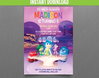 Disney Inside Out 5x7 in. Birthday Invitation - Instant Download and Edit with Adobe Reader