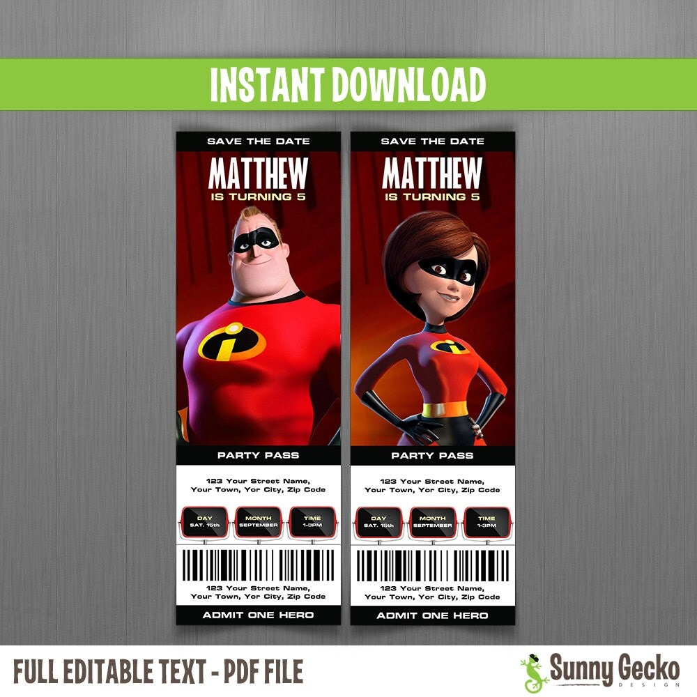Disney The Incredibles Birthday Ticket Invitations Instant