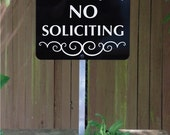 Private Property NO SOLICITING Yard Sign with attached yard stake. Ships FREE (660021)