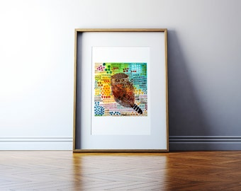 Contemporary Art Print, Adorable Owl Print, Folk art print in 4 sizes, Great colors!