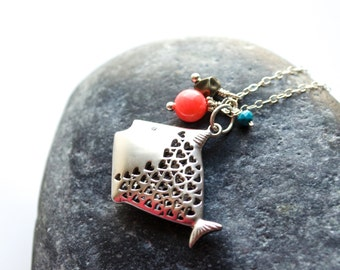 Fish necklace, Fish charm necklace, Silver fish necklace, Ocean necklace, Marine necklace, Beach necklace, Pink coral and turquoise necklace