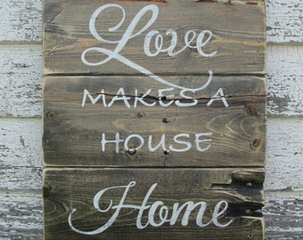 Love makes a house home Rustic Sign
