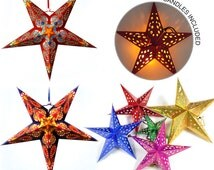 Set Assorted Stars Cutout Lanterns - Moroccan Star & LED Candle Pendant Light Decors - DIY Party, Wedding, Shower, Birthday, Nursery, Home