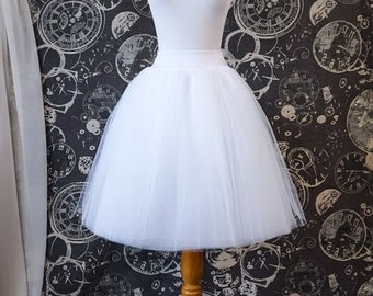 White Tulle Skirt - Adult Tutu or Petticoat, Knee Length with Stretch Lycra Waistband - Custom Made to Your Size