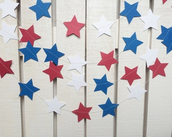 4th of July Paper Garland - July Fourth Decor, America Decor, Red, White, Blue, 4th of July, Party Supplies, Party Decorations, America