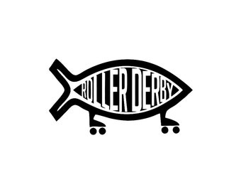 Roller Derby Fish Custom Die Cut Vinyl Decal Sticker - Choose your Color and Size