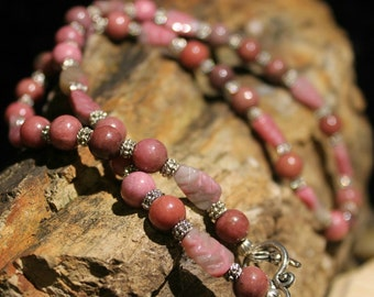Rhondonite gemstone necklace with pink, mauve and gray colors.