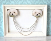 Maltese , maltese dog ,  maltese dog jewelry , havanese , havanese dog , white dog jewelry , maltese dog art , maltese dog brooch ,