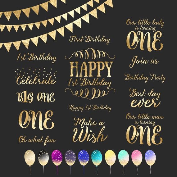 First Birthday Gold Foil Clipart Word Art Photo Overlay