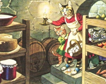 Vintage Alfred Mainzer Cats humorous postcard mice in the root cellar digital download printable image 300 dpi