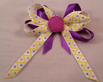 Purple and White with Yellow Angles and Multi-Color Polka Dot Hair Bow