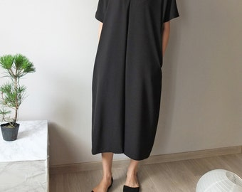 tencel ruched shoulder V-neck tunic style maxi dress