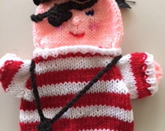 dutch knitted pirate hand puppet, bottel topper  or decoration doll