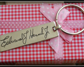 Handwritten Keychain - Your Loved One's Actual Handwriting or signature. Fine Silver
